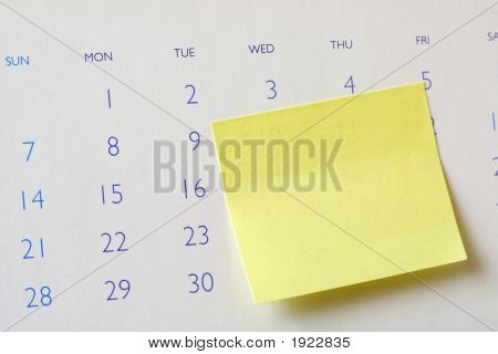 Sticky Note On Calendar