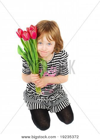 Littl Girl With Tulips.