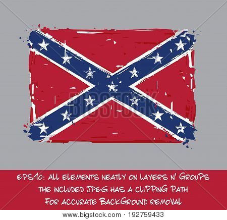Confederate Rebel Flat Flag - Vector Artistic Brush Strokes and Splashes. Grunge Illustration all elements neatly on layers and groups. The JPEG has a clipping path for accurate background removal