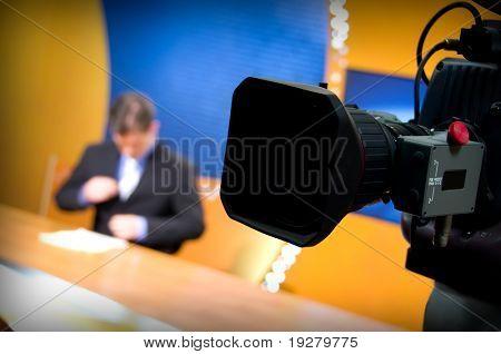 Recording in TV studio - Speaker talking To The Camera
