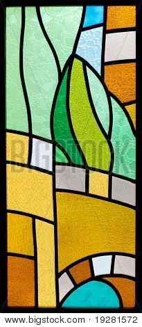 Stained glass with abstract pattern
