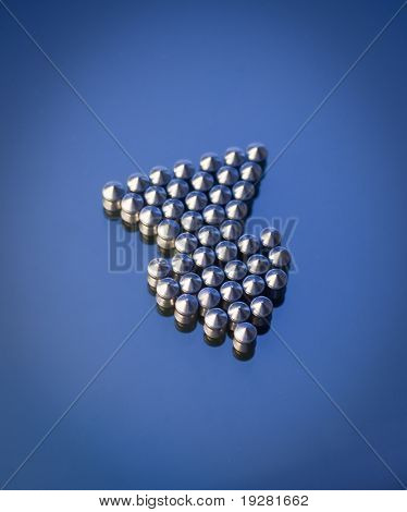 Airgun lead pellets on blue