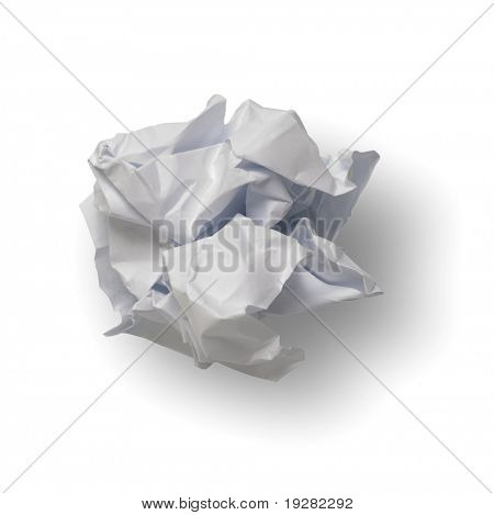 Paper ball isolated on white with clipping path included