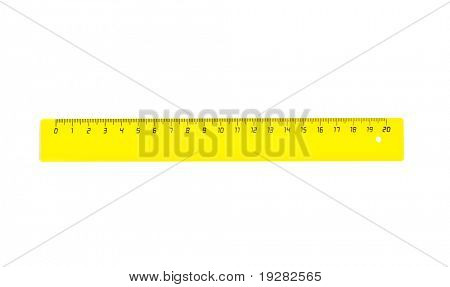 Horizontal yellow twenty centimetres ruler isolated on white