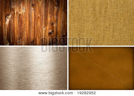 Metal, canvas, wooden and leather textures collection