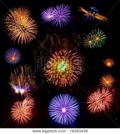 Big collection of real fireworks isolated on black background