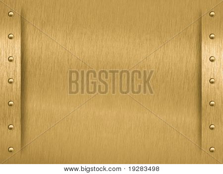 Brass metal plate with border and rivets