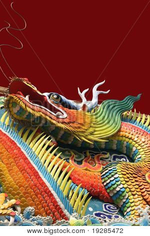 Asian temple dragon isolated on red background