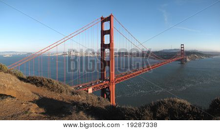 Golden Gate Bridge and San Francisco before sunset