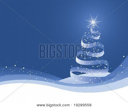 Ribbon Christmas Tree on Blue Gradient and Snow White Footer