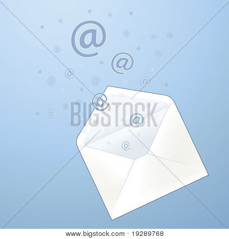 Envelope with email  ' at ' sign symbols bursting out against blue background. All elements on separate layers for easy us