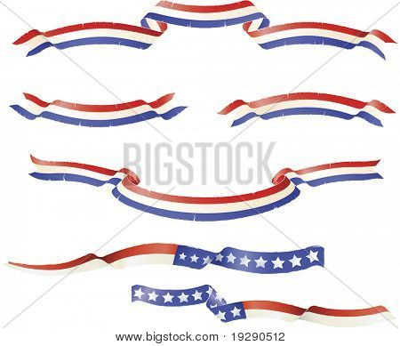 "Patriotic American flag theme banners ribbons. ""Grunge"" rough edge design"