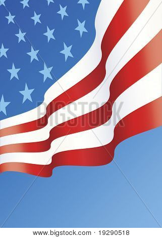Vertical design of American Flag layout with copy space below