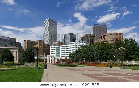 Denver Skyline from Civic Park. Summer of 2010.