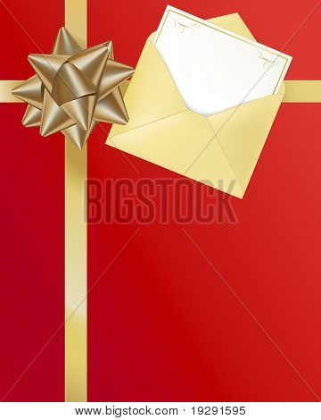 Gold ribbon and red background with gift card and envelope