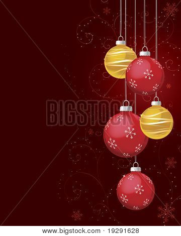 Red and gold Christmas ornaments on deep red background. Highly detailed background curls, snow flakes, sparkles, and glitters.