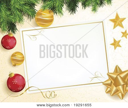 Christmas scene with evergreen branch, red and gold ornaments, ribbon, and star decorations. Background highly detailed with pattern and glitter.