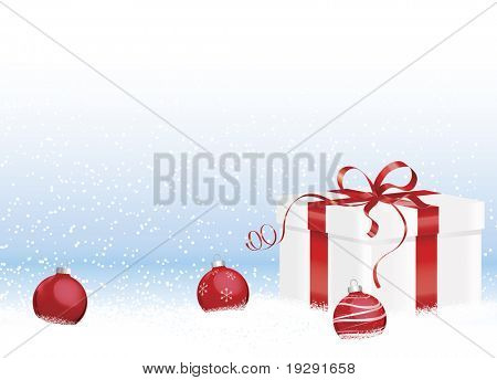 Christmas gift in snow with red ornaments and blue gradient background
