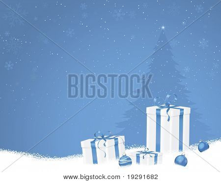 Blue Christmas scene with gifts and tree on snowflake background
