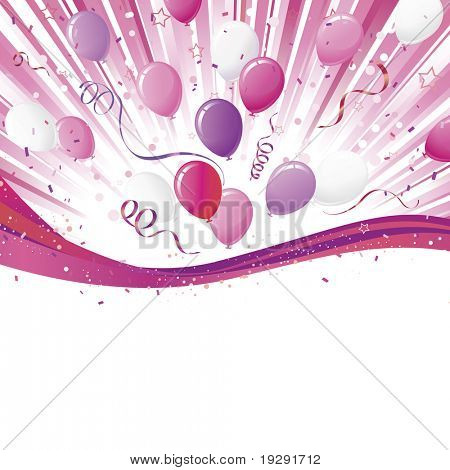 Bright pink balloon and confetti explosion with vivid ribbon divider. Copy space below on pure white.
