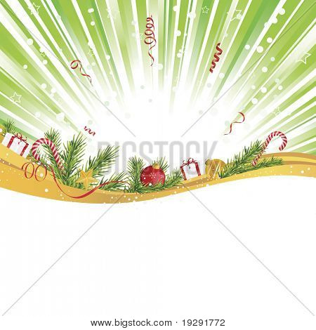 Green light explosion with gold ribbon and holiday gifts. Copy space below.