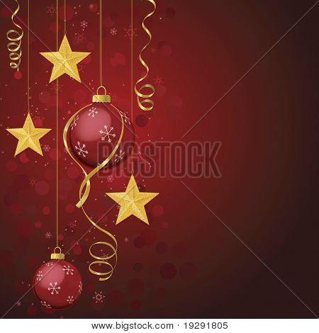 Red ornaments and gold stars on red background with ribbon. Detailed stars, snowflakes, and sparkles.