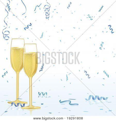 Champagne glasses on blue confetti reflective background