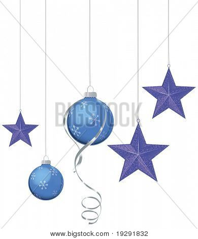 Blue and purple Christmas ornaments of blue and purple with silver ribbon
