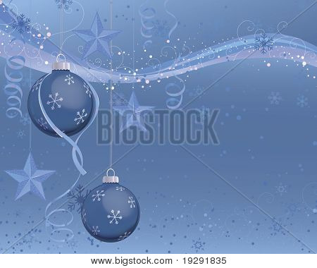 Blue Christmas ornaments on snowflake background with blue wave