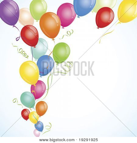 Party Balloons flowing from lower left to across top