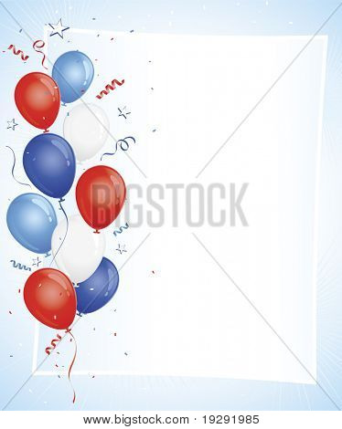 Red white blue balloons on white copy space with confetti and burst detailed background