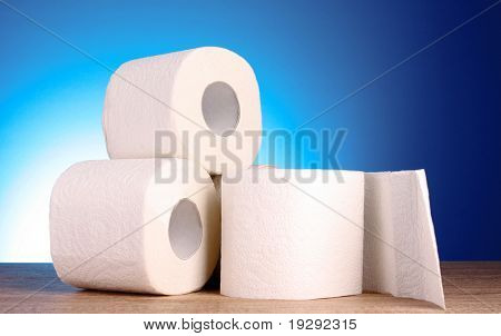 Toilet pape on blue background