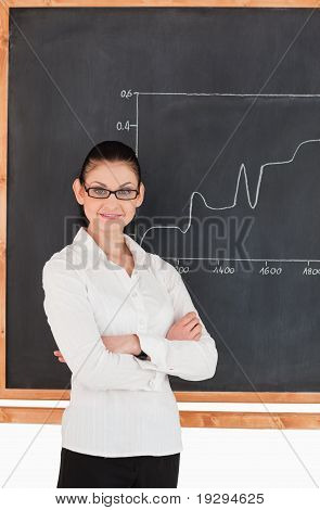 Dark-haired scientist explaining charts while looking at the camera