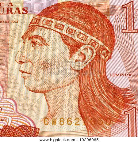 HONDURAS - CIRCA UNKNOWN: Lempira on Banknote from Honduras. Lempira (died 1537) was a war captain of the Lencas of western Honduras in Central America during the 1530s.
