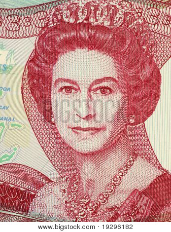 BAHAMAS - CIRCA 1984: Queen Elizabeth II (1926-) on 3 Dollars 1984 Banknote from Bahamas. Queen regnant of 16 independent sovereign states known as the Commonwealth realms.