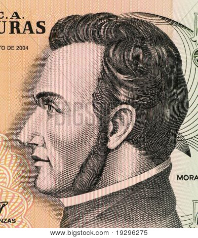 HONDURAS - CIRCA 2004: Francisco Morazan (1792-1842) on 5 Lempiras 2004 Banknote from Honduras. General and politician who ruled several Central American states at different times during 1827-1842.
