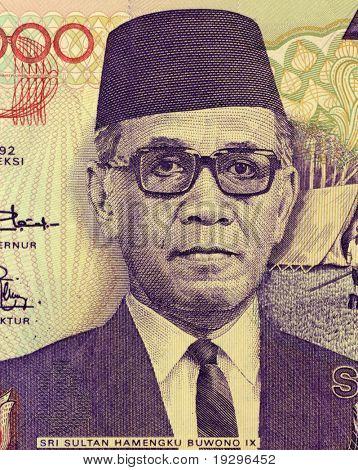 INDONESIA - CIRCA 1992: Sri Sultan Hamengku Buwono IX (1912-1988 ) on 10000 Rupiah 1992 Banknote from Indonesia, CIRCA 1992