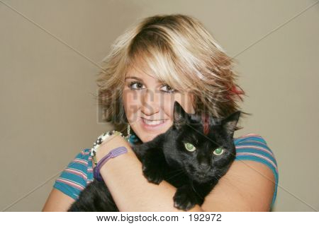 Punky Girl With Mohawk Cat
