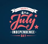 Hand Sketched Text happy 4Th Of July Independence Day. Happy Independence Day Vector Lettering Typ poster