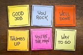 way to go, good job, well done, youre the man, thumbs up, you rock - a set of colorful sticky notes poster