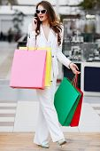 Woman Doing Shopping And Talking On Phone poster