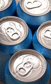 Top View Of Aluminum Soft Drink Cans poster