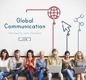 People connected with global communications network poster