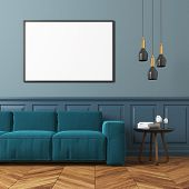 Gray Living Room, Blue Sofa poster