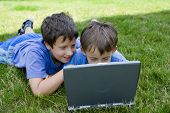 Two Cute Boy Study On Computer poster