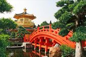 stock photo of hong kong bridge  - Gold pavilion in Chinese garden - JPG