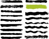 Seventeen real paint brush strokes on canvas. Each vector brush stroke grouped for easy use and sepa