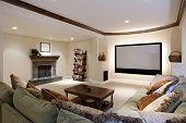 foto of home theater  - Wide angle of theater room - JPG