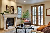 Great Room with Fireplace and French Doors