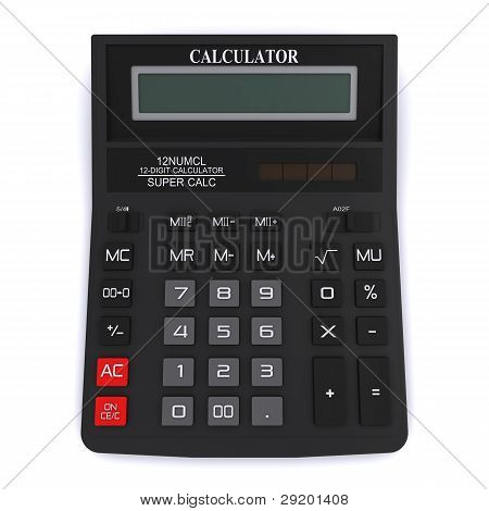Black office calculator. View from above